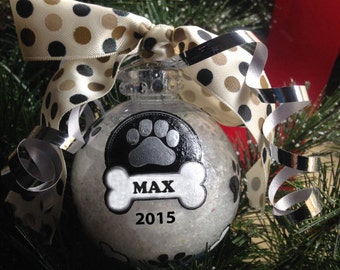 Personalized Dog Bone and Paw Print Christmas Ornament