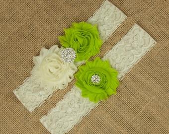 Green Wedding Garter, Green Bridal Garter, Ivory Lace Garter Set, Ivory Lace Garter, Green Bridal Garter, Green Wedding Garter, SCI1-G11