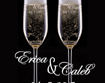 Toasting Champagne Glasses, Custom Champagne Glasses, Engraved Champagne Flutes, Set of 2 Glasses, Wedding Gift, Personalized Champgne Flute