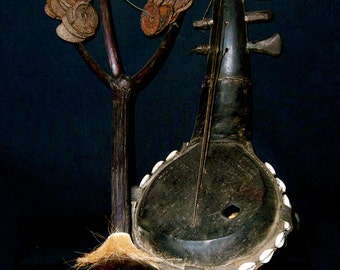 Mangbetu Harp & Rattle Wood, Leather, Cowrie Shells, Tin, DRC Tribal African Musical Instruments