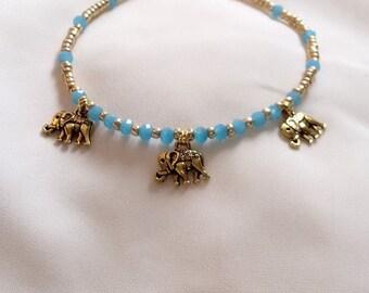 Anklet - Elephant Anklet - Gold Anklet with Elephant Charms - Elephant Ankle Chain - Ankle Bracelet -
