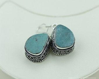 Untreated Genuine Tibet Turquoise Vintage Filigree Setting 925 SOLID (Nickel Free) Sterling Silver Dangle Earrings e478