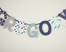 """The """"Navy Blue"""" Name Banner, Fabric Name Banner, Name Banner, Name Garland, Fabric Name Garland, Name Bunting, Wall Hanging, Name Sign"""