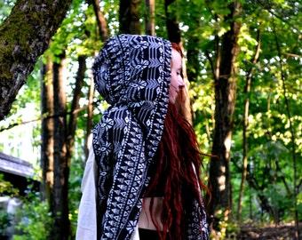 Tribal Hood Scarf Black & White