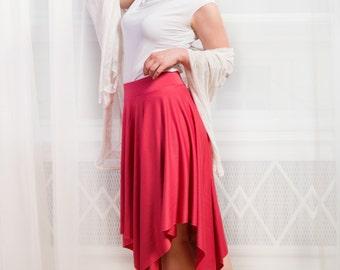ANASTASIA Skirt - One-of-a-kind coral red midi skater skirt with original asymmetrical hem