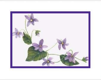 Violets Note Card  Watercolor Print - Custom Wording Available