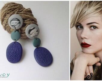 Blue long earrings from polymer clay, unique big earrings, modern jewelry  earrings, boho earrings, large earings, handmade Armenia