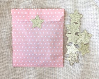 Party Favor Bags Set (12), Peach/White Polka Dot, Twinkle Twinkle Little Star,Paper Favor Bags,First Birthday, Baby Shower,Glitter Star