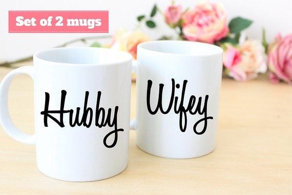 Coffee Mug Set of Hubby and Wifey Coffee Mugs
