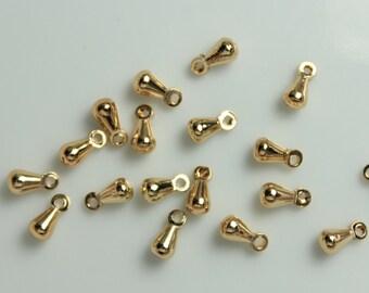 50pcs 18K Gold plate on Copper Teardrop Charms Pendants Dangles Drops, 6x3mm, E-003