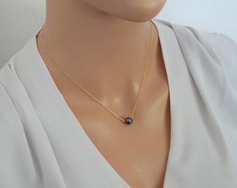 Hematite necklace, hematite jewelry,  Gold Hematite necklace, Hematite ball pendant, Single Bead gemstone Necklace, Minimal Necklace