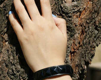Faux Leather Black Studded Cuff Bracelet