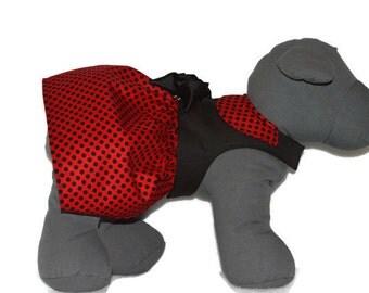 Dog Harness Dress, Small Dog Harness Dress, Pet Clothes, Dog Dress, Custom Pet Clothing, Red Black Polka Dot Harness Dress
