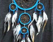 Dream Catcher Cyan color Wall Hanging Home Decoration ornament Feathers Bead Suede Nylon 5 Circles Length 22 Inches