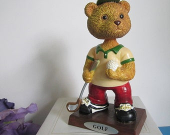 Golf Bobble Head Figurine Teddy Bear Russ Berrie  (#280)
