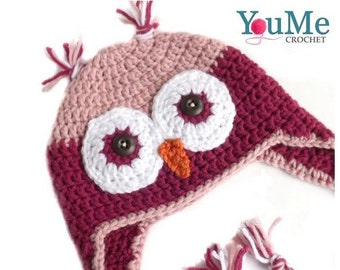 Owl hat with earflaps, handmade owl hat, pink owl hat