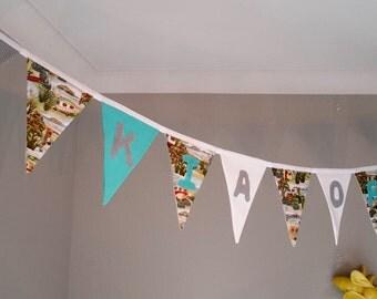 KIA ORA - retro Kiwiana bunting/banner, handmade fabric Kia ora bunting/banner, home decor, living room&hall banner/bunting, new home gift