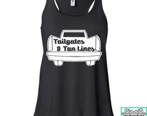 Tailgates and Tan Lines - Country Tank Top - Concert Tank Top - Ladies Racerback Flowy Tank Top