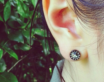 Black Round Fake Plugs with Crystal Ear Piercing 16 Gauge (EPC-27),Fake Plug,316L Surgical Steel, Sold by Piece, Single Earring