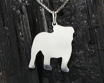 English Bulldog Sterling Silver Pendant