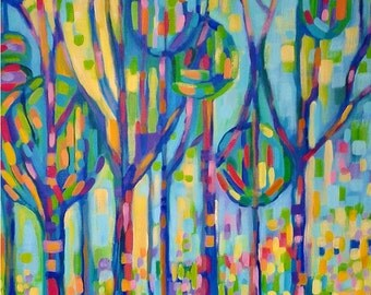 Abstract Trees, impressionist fauve style, A4 art print, vibrant and colorful picture, limited edition signed print