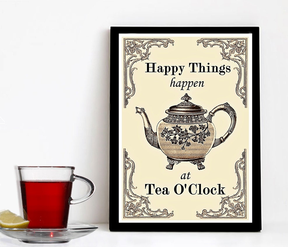 Tea lovers gift kitchen printables a3 print tea art vintage Gifts for kitchen lovers
