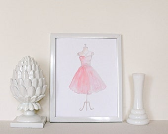 Pink Dress // Hand Painted / 8 x 10 / 5 x 7 / Art Print / Watercolor / Feminine / Girl's Room / Nursery Decor