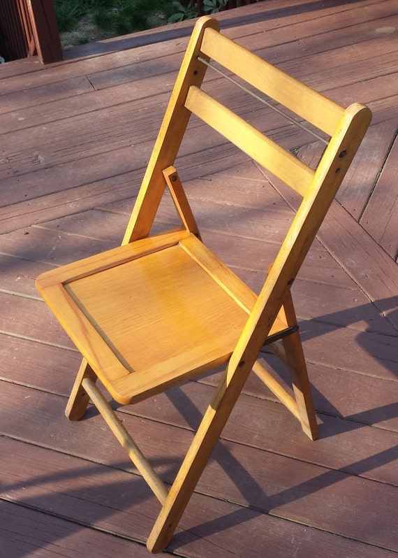 Vintage occasion pliante chaise cole ou glise de bois - Chaise vintage occasion ...