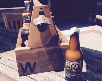 Six pack carrier and bottle opener / Picnic condiment holder