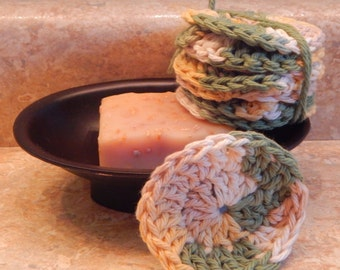 Green Ombre Facial Scrubbies (Set of 7)