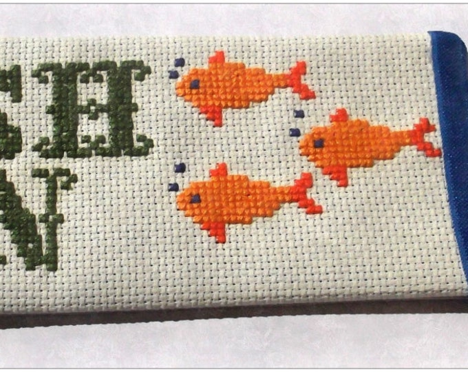 Fish On! Specialty Cross-Stitched Large Bookmark with Navy Blue Elastic Bookmark Tail.
