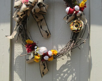 Bumble Bee Wreath Handmade Natural Grapevine Fall Decor Candy Classroom