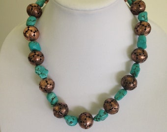 ON SALE - Turquoise Necklace with Brass Beads