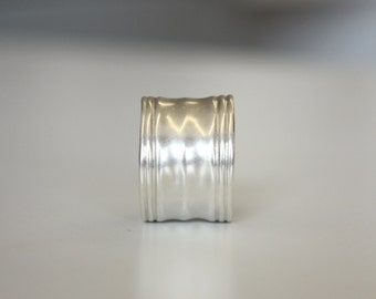 Wide Band Sterling Silver Ripple Ring