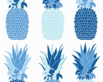 Pinepple Blue Screenprint