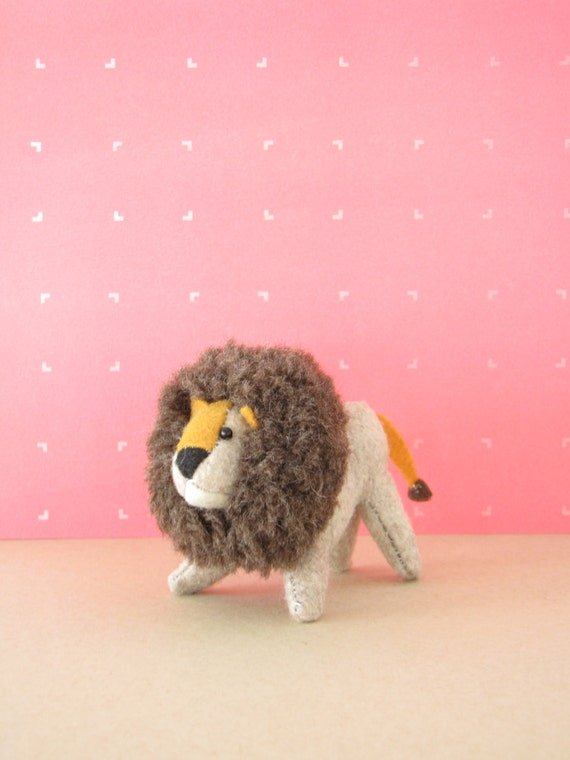 Playful Lion Hand-sewn Stuffed Animal - Felt softie - plush safari jungle cat kids room nursery decoration, have courage gift