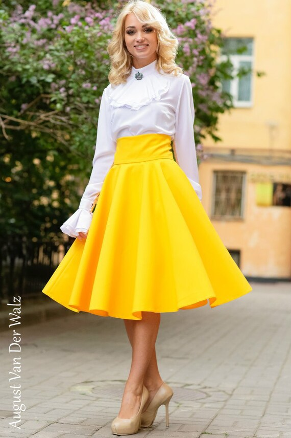 Yellow maxi skirt skirt with pocket circle skirt viscose cotton