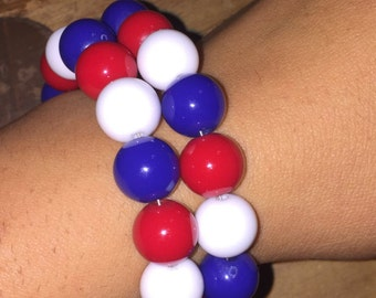 Red, White and Blue Memory Wire Bracelet, Patriotic