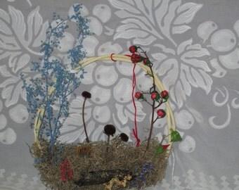 Dried Flowers in Basket Wreath