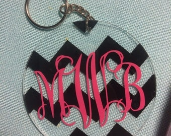 Circle Chevron Monogram Keychain (3 inches)