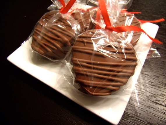 12 Gourmet Chocolate covered Double Stuffed Oreo hearts with chocolate drizzle