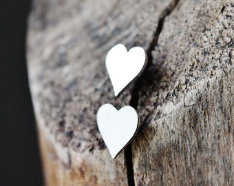 heart earrings, sterling silver earrings, heart studs, gift for girlfriend wife mom, artisan jewelry
