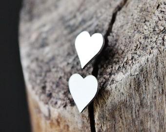 heart earrings, sterling silver earrings, heart studs, gift for girlfriend wife mom, artisan jewelry