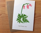 Botanical linocut blank card Pacific Bleeding Heart