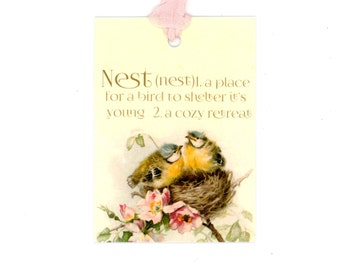 Tags , Bird Gift Tags , Nest Tags , Nest Definition , Vintage Birds , Housewarming Gift , New Apartment ,
