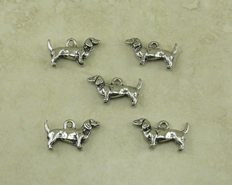 5 Dachshund Dog Charms > Weenie Dog Doxie Dackel Wiener Hot - Silver Raw Unfinished American made Lead Free Pewter I ship internationally
