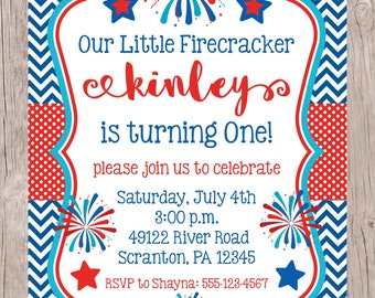 PRINTABLE Little Firecracker Birthday Party Invitation / 5x7 Invitation in Red, White & Blue for Fourth of July Party / You Print