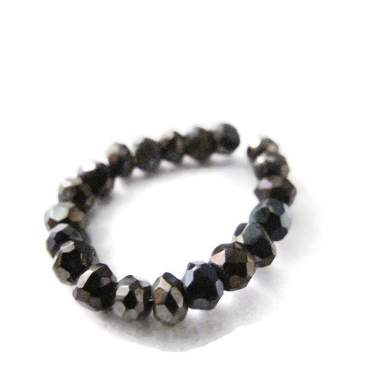 Mystic Black Spinel Beads, Black Spinel Rondelles, Faceted 3.5mm Natural Gemstones, 16 Count, Jewelry Supplies (L-Sp6)