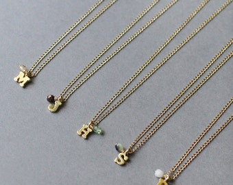 thinking of you - gold initial necklace