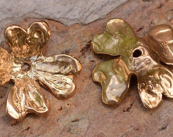 Two Ruffled Gold Bronze Bead Caps, Large Flower Bead Cap